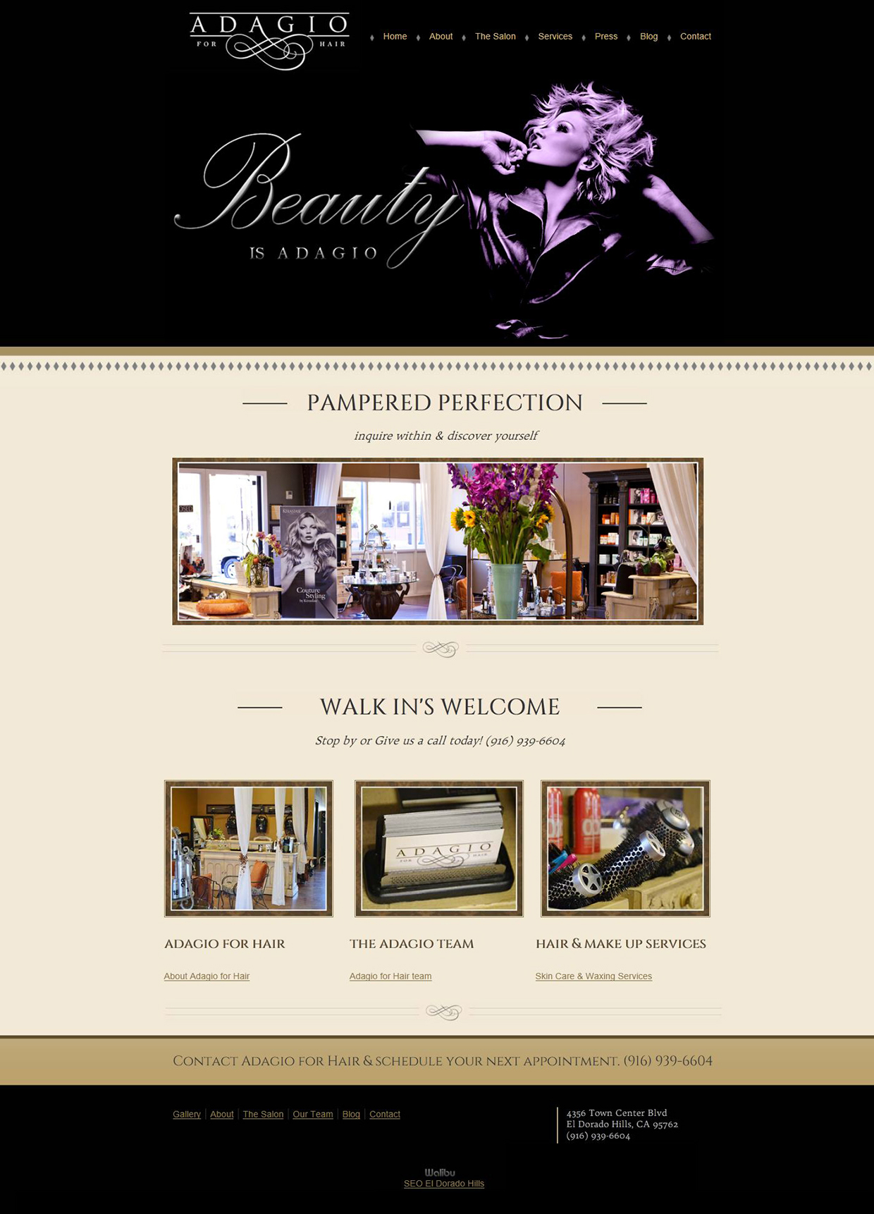 Adagio For Hair Website Design