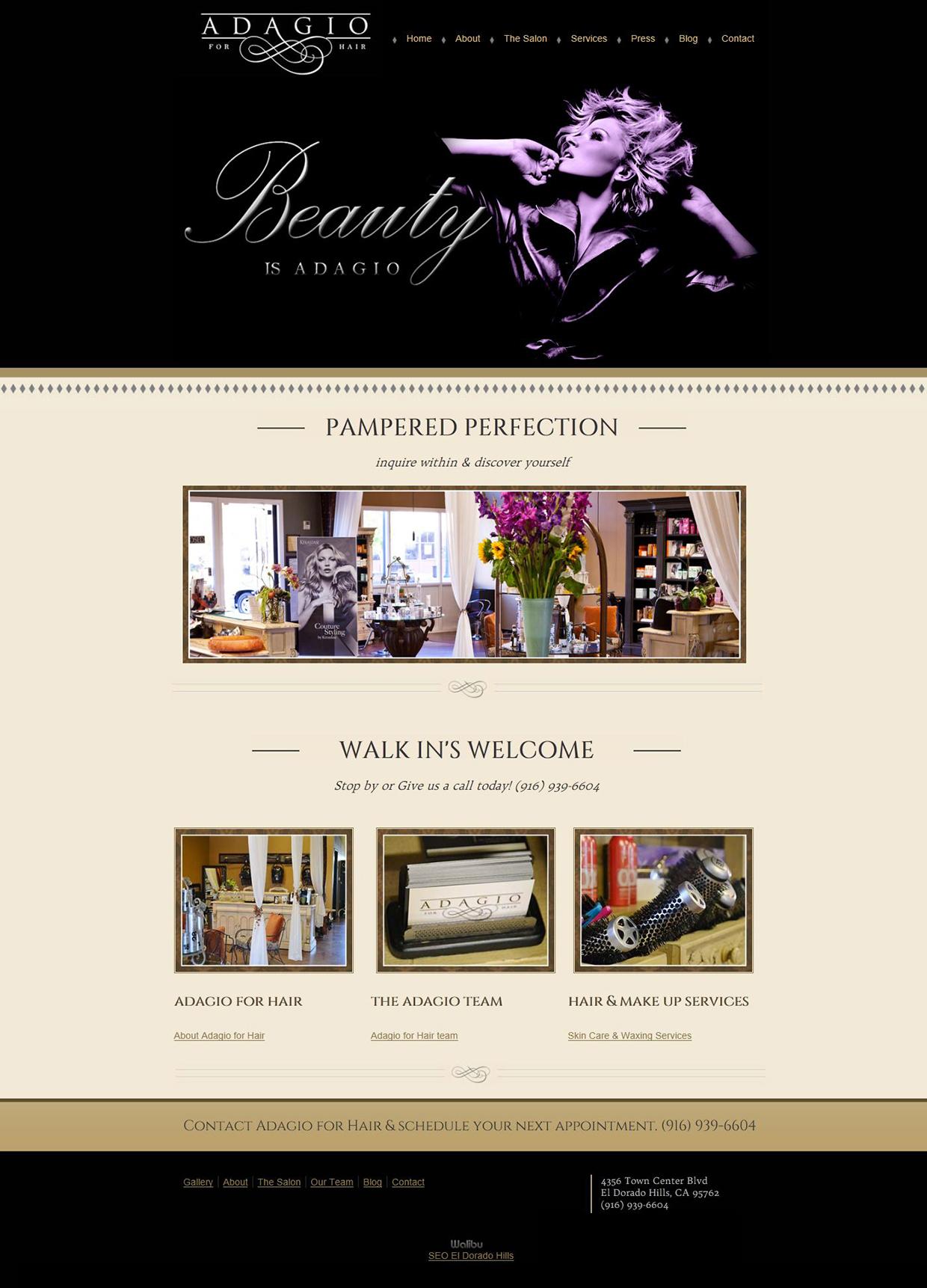 Adagio For Hair Website Design