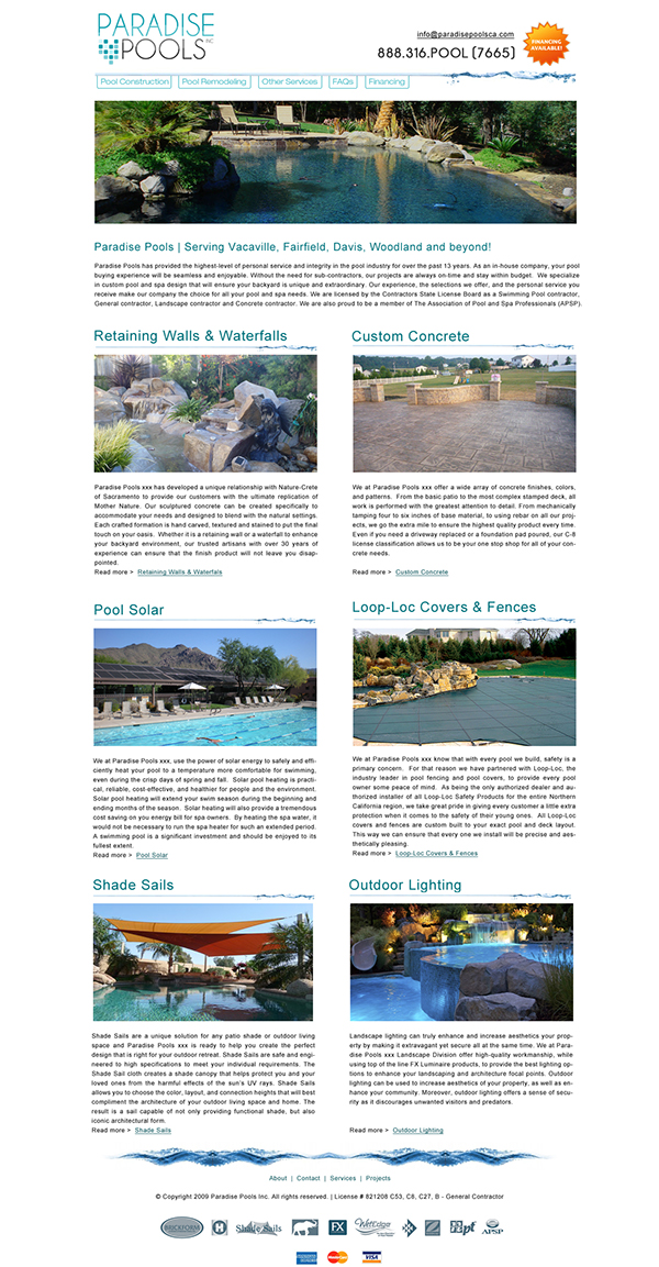 Paradise pools website design custom pool builder for Pool design website