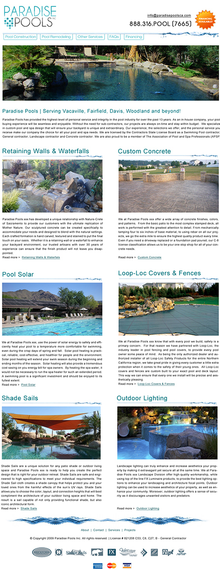 Paradise Pools Website Design
