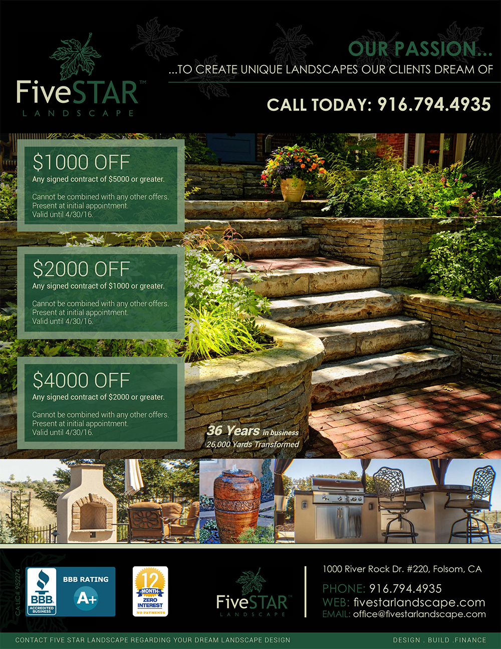 Fivestar landscape website design graphic design for Ad designs