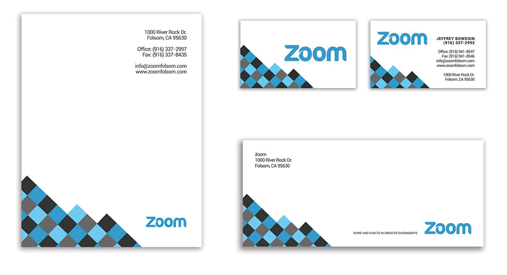 Zoom Brand Identity & Stationary Graphic Design