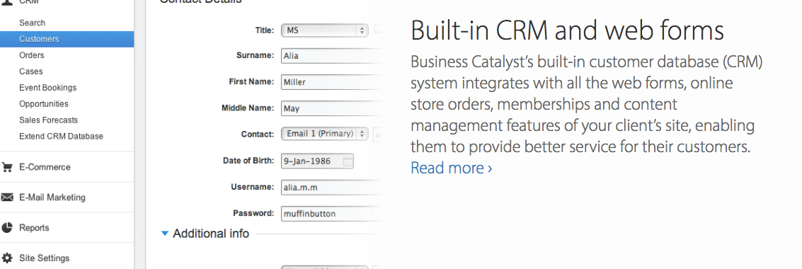 Adobe Business Catalyst - CRM