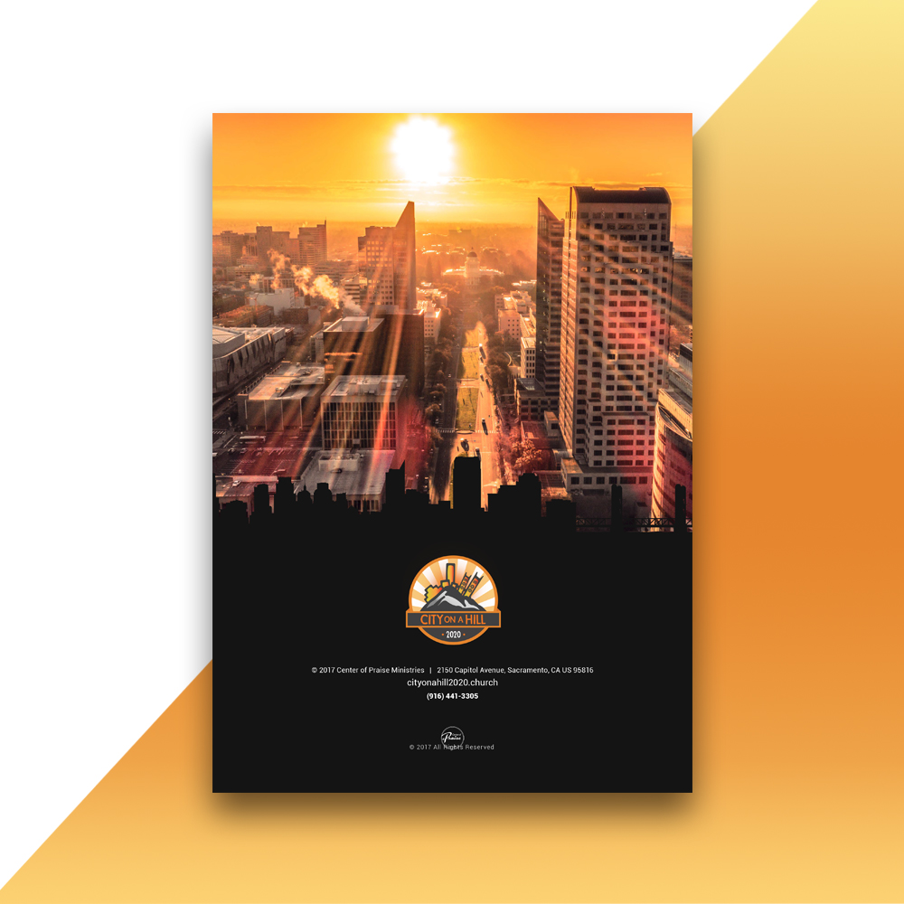 City on a hill church logo design brochure design for Brochure cover designs