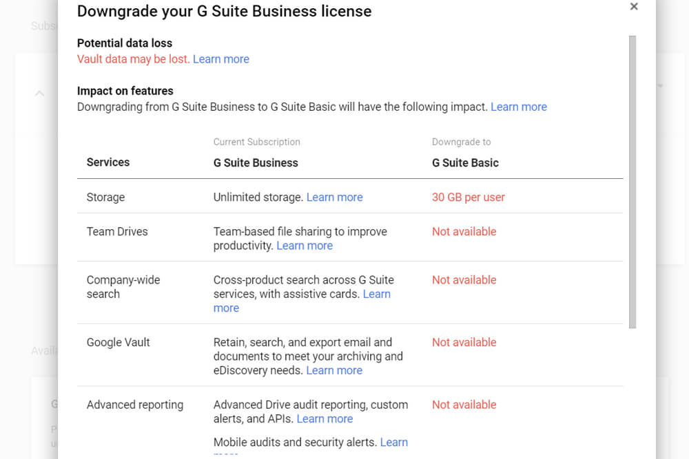 Setting Up Google G Suite Email: 8. Customize & Tweak Additional Mail Settings -Downgrading from Business to Basic (Optional)