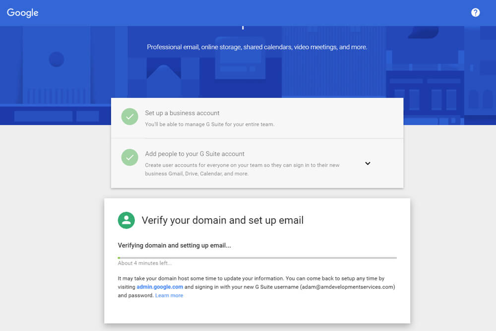 Setting Up Google G Suite Email: 6A. Verify Domain Name with Google G Suite