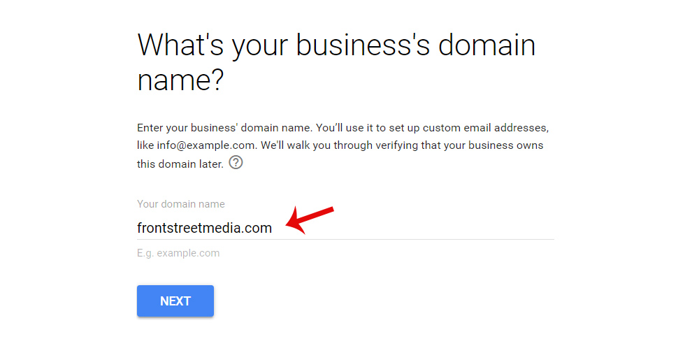 Setting Up Google G Suite Email: 3. Enter Domain Name or Choose New One
